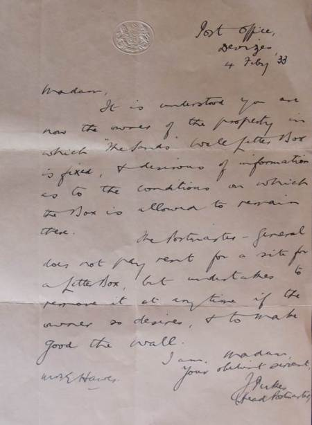 1933 letter regarding the post-box at Wayside Cottage, Kings Road, market Lavington