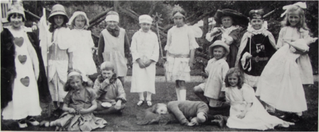 Market Lavington children as nursery rhyme characters in about 1925/26