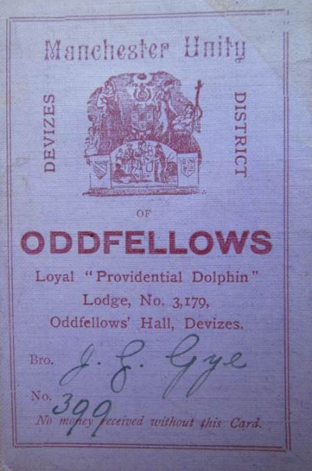 James Gye's 1899 membership card for The Oddfellows. James was a carpenter on White Street, Market Lavington