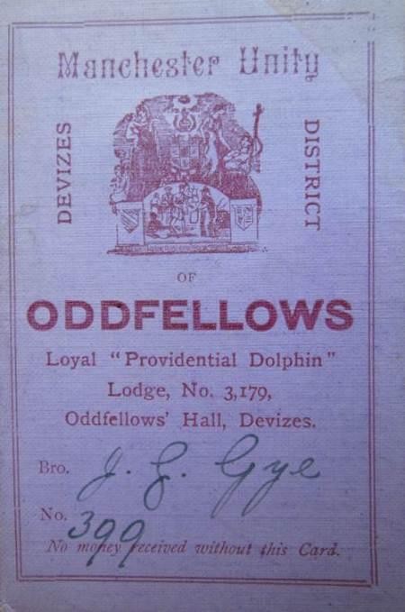 James Gye's 1899 membership card for The Oddfellows. James was a carpenter on White Street, Market Lavington
