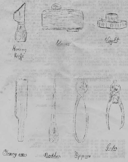 Basket making tools as sketched by Gordon Baker of Market Lavington