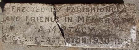 Memorial to the Reverend Stacy, found at Paxtons in Easterton