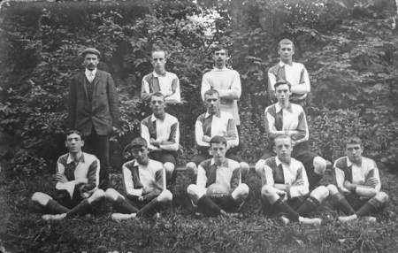 Unknown football team in 1906/7. This postcard is at Market Lavington Museum