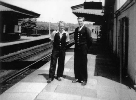 Porters on Lavington Station in the 1950s