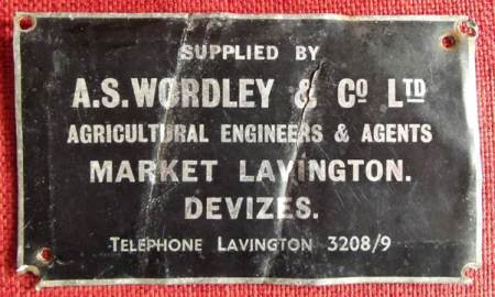 A. S. Wordley and Co Lts trade plate at Market Lavington Museum