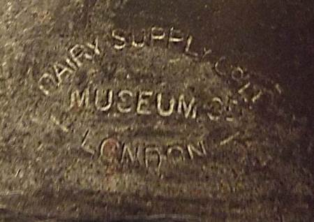 Cream pot supplied by the  Dairy Supply Company of Museum Street, London