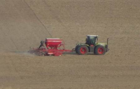 Close up on the seed drill - but taken from half a mile away