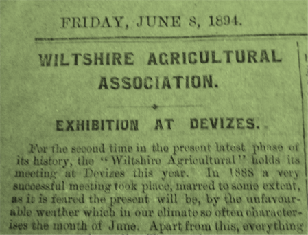 Part of page from an 1894 copy of The Wilts and Devizes Advertiser