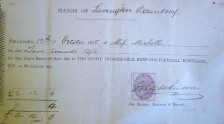 Receipt for rent paid by Miss Michell to the Lavington Dauntsey estate in 1875