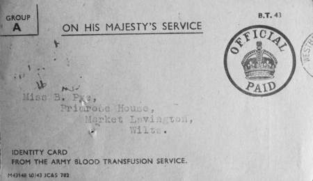 Identity card for Miss B Pye of Market Lavington which should have read Miss B Gye