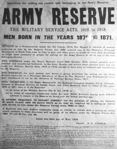 Poster calling out reservists born in 1870/71 for First World War Service