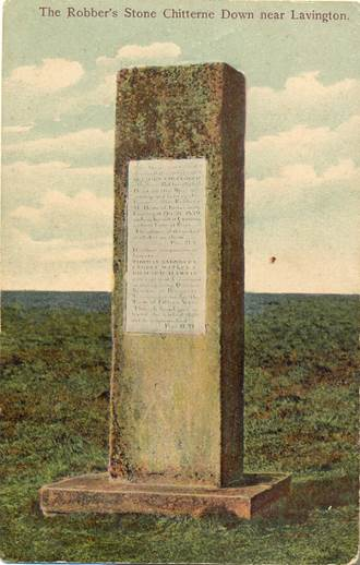 The Robbers Stone commemorates a victory for law and order over highwaymen who roamed the lonely downs in the Lavington area