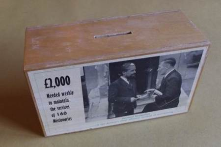 London City Mission collection box, now at Market Lavington Museum
