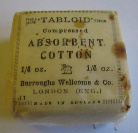 Absorbent Cotton dating from the First Workld War era given to Market Lavington Museum by Rose Crouch