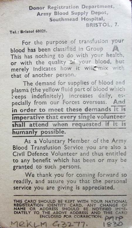 Blood donor information from the time of the Second World War