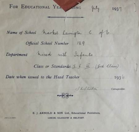 Register for Market Lavington School - 1936/37
