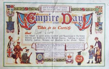 Overseas Club Certificate awarded to Bert Shore in 1915