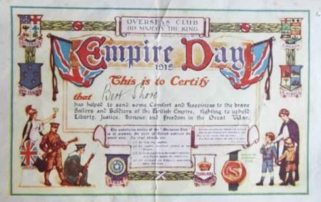Overseas Club Certificate awarded to Bert Shore in 1915