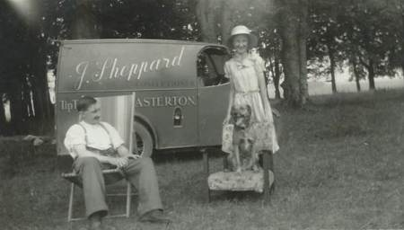 Jim Sheppard, Tip Top baker of Easterton relaxes in front of his delivery van