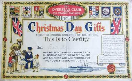 Christmas Day Gifts from Bert Shore of the Overseas Club