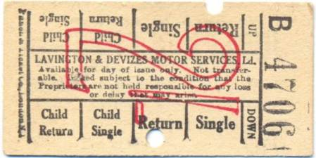 Lavington and Devizes Motor Services bus ticket