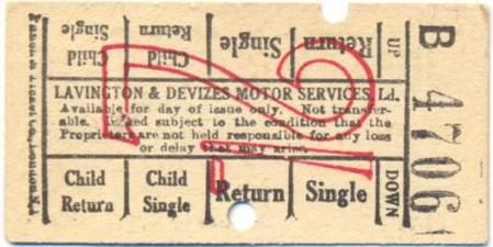 Lavington and Devizes Motor Services bus ticket
