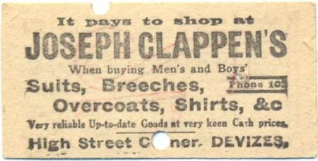 The advert on the back of the ticket is for Joseph Clappen of Devizes