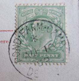 The post card has a Pond Farm Camp post mark