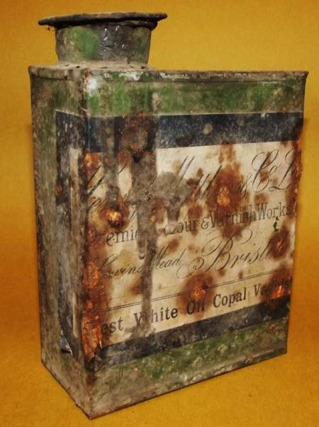 A varnish tin dating from around 1900 at Market Lavington Museum