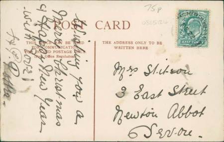 A post card wishing a Happy Christmas to Mrs Stitson - from the Edwardian era.
