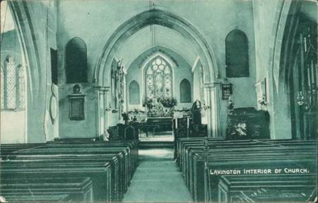 Market Lavington Church interior - an Edwardian postcard