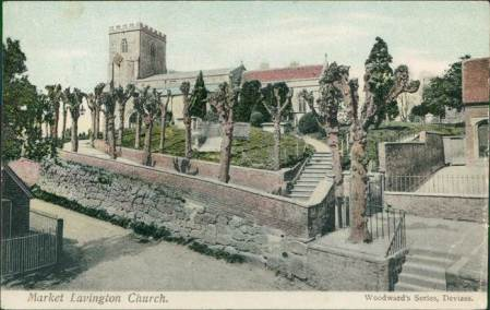 The image is a colour tinted version of Market Lavington Church