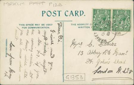 The card was sent from Market Lavington in 1918. May sent the card to Mrs Clarke