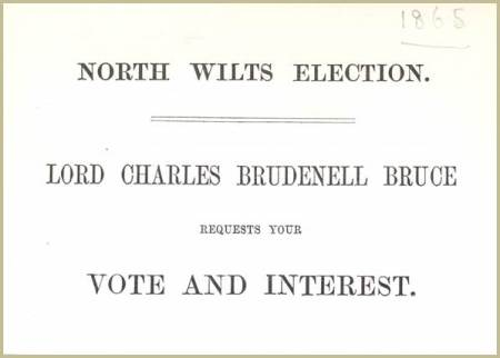 An election card from the 1865 election encouraging people to support Lord Charles Bruce