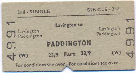 A Lavington to Paddington single rail ticket from about 1965