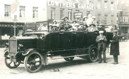A Charabanc carrying Market Lavington people photographed in Salisbury in about 1922