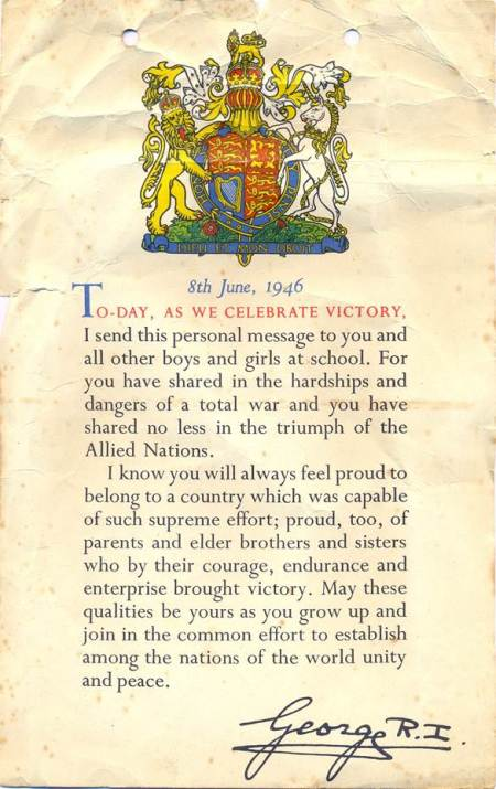 Letter of thanks from George VI to a Market Lavington child in 1946