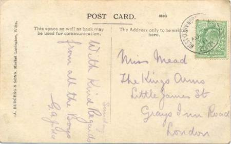 Card sent from West Down North Camp in August 1911