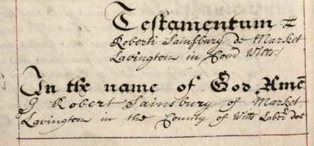 Start of Robert Sainsbury's will of 1698