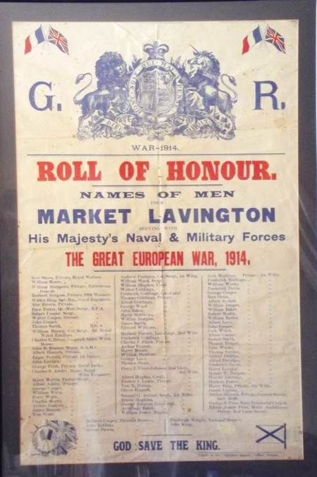 Market Lavington men who volunteered for war service in 1914 are remembered on this poster
