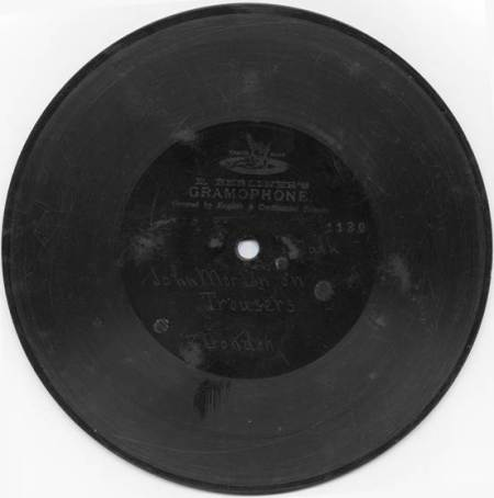 An early Berliner Gramophone record now at Market Lavington Museum