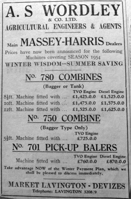 Wordley's of Market Lavington advertise in 1953