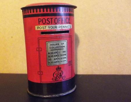 1930s money box in the shape of a pillar box for mail