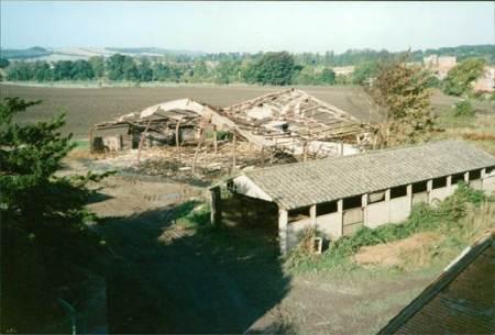 Barn fire aftermath