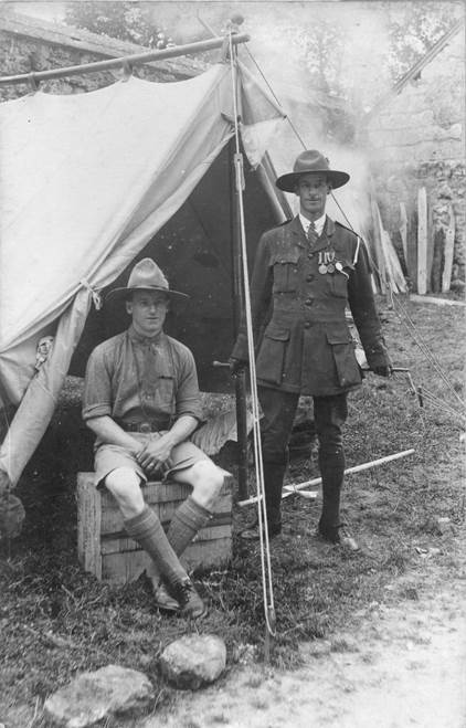 Vic Osmond on the left on a Lavington scout camp, possibly around 1926