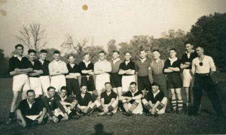 A Football team postcard at Market Lavington Museum