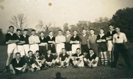 A Football team postcard at Market Lavington Museum