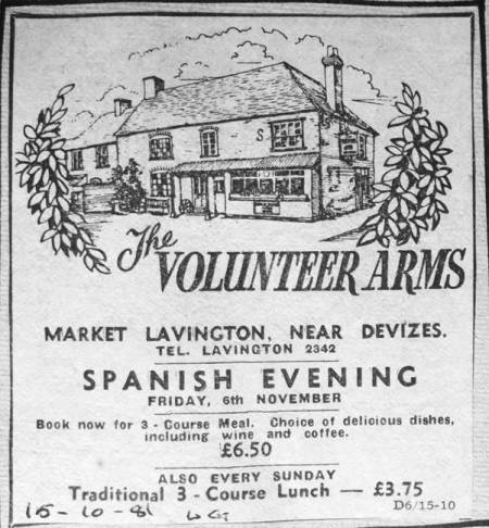 1981 newspaper ad for the Volunteer Arms in Market Lavington