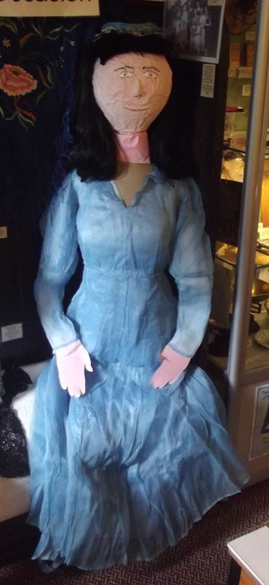Our bridesmaid is dressed for the occasion - at Market Lavington Museum
