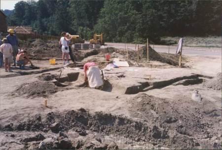 Archaeological dig in progress in Market Lavington - Serptember 1990